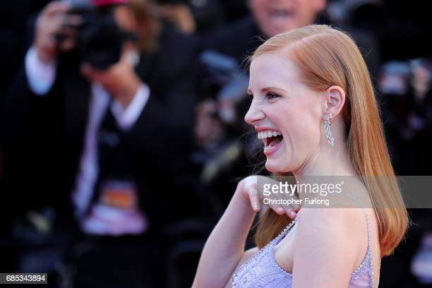 Jessica Chastain attends the 'Okja' screening during the 70th annual Cannes Film Festival at Palais des Festivals on May 19 2017 in Cannes France on...
