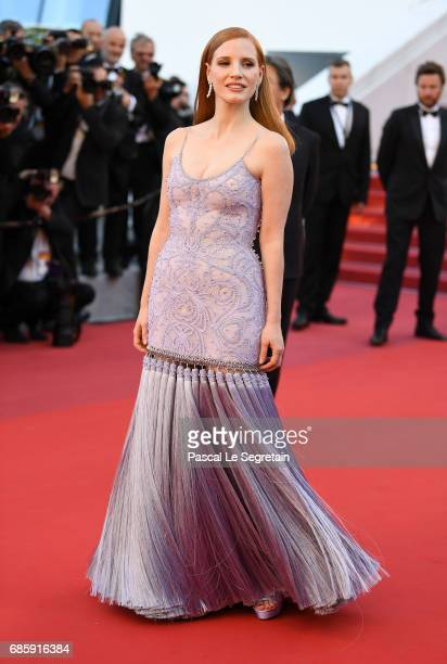 Jessica Chastain attends the 'Okja' screening during the 70th annual Cannes Film Festival at Palais des Festivals on May 19 2017 in Cannes France