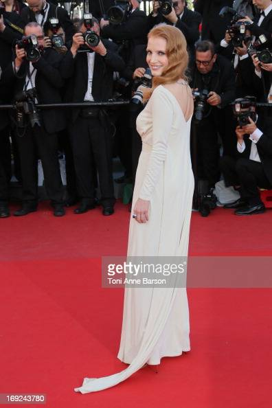 Jessica Chastain attends the Premiere of 'Cleopatra' during the 66th Annual Cannes Film Festival at the Palais des Festivals on May 21 2013 in Cannes...
