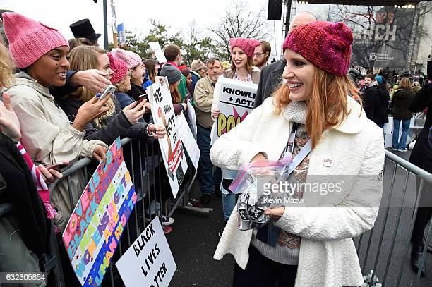 Jessica Chastain attends the rally at the Women's March on Washington on January 21 2017 in Washington DC