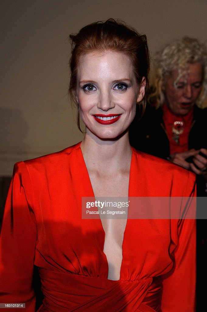 <a gi-track='captionPersonalityLinkClicked' href=/galleries/search?phrase=Jessica+Chastain&family=editorial&specificpeople=653192 ng-click='$event.stopPropagation()'>Jessica Chastain</a> attends the Saint Laurent Fall/Winter 2013 Ready-to-Wear show as part of Paris Fashion Week on March 4, 2013 in Paris, France.