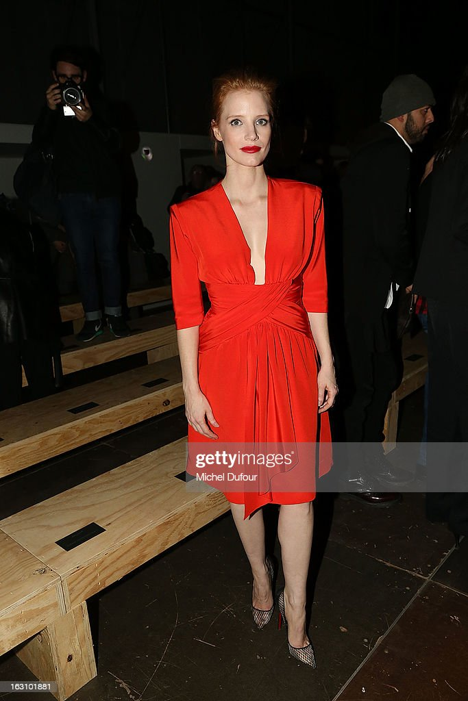 Jessica Chastain attends the Saint Laurent Fall/Winter 2013 Ready-to-Wear show as part of Paris Fashion Week on March 4, 2013 in Paris, France.