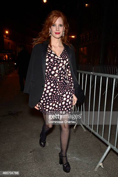 Jessica Chastain attends the Saint Laurent show as part of the Paris Fashion Week Womenswear Fall/Winter 2015/2016 on March 9 2015 in Paris France