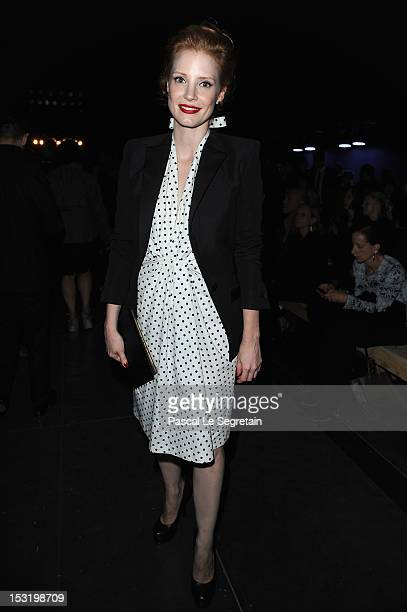 Jessica Chastain attends the Saint Laurent Spring / Summer 2013 show as part of Paris Fashion Week on October 1 2012 in Paris France