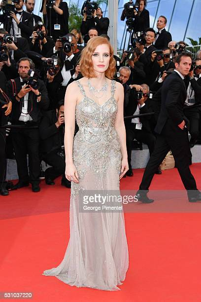 Jessica Chastain attends the screening of 'Money Monster' at the annual 69th Cannes Film Festival at Palais des Festivals on May 12 2016 in Cannes...