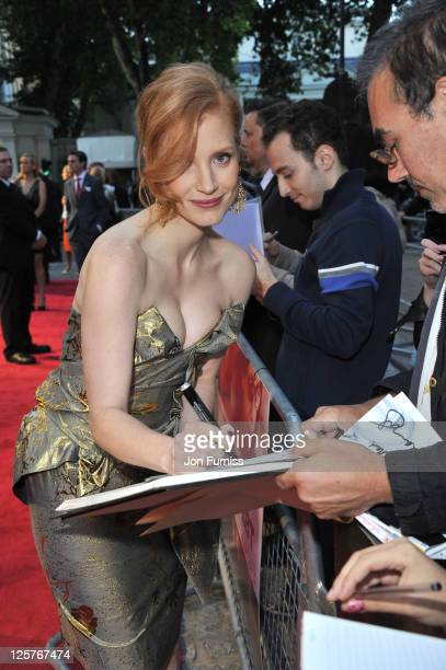 Jessica Chastain attends the UK premiere of The Debt at The Curzon Mayfair on September 21 2011 in London England