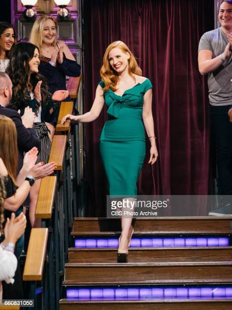 Jessica Chastain enters the studio during 'The Late Late Show with James Corden' Wednesday March 29 2017 On The CBS Television Network