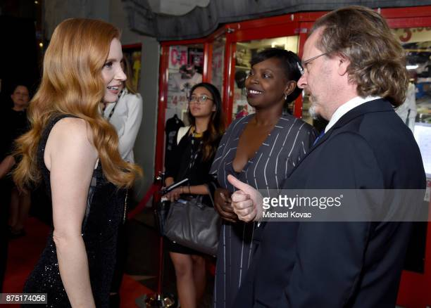 Jessica Chastain Festival Director for AFI FEST Jacqueline Lyanga and CEO of AFI Bob Gazzale attend the screening of 'Molly's Game' at the Closing...