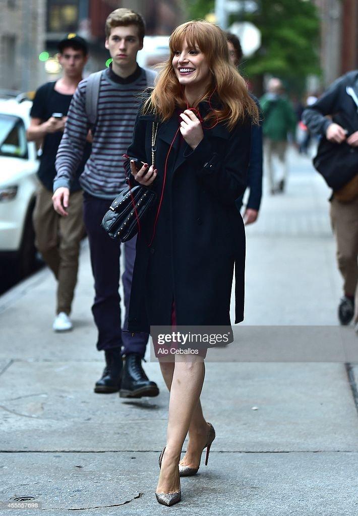 Jessica Chastain is seen in SoHo on September 16, 2014 in New York City.
