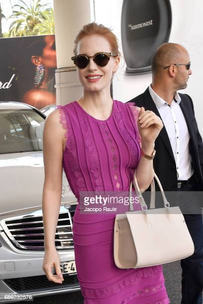 Jessica Chastain is spotted leaving Hotel Martinez during the 70th annual Cannes Film Festival at on May 21 2017 in Cannes France