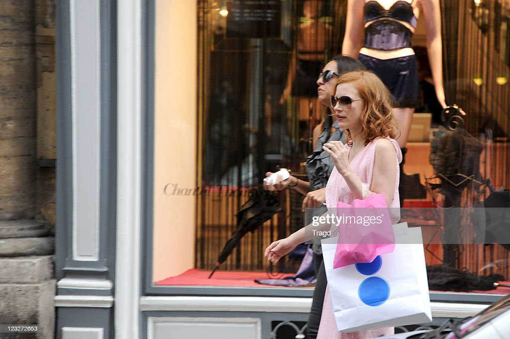 Jessica Chastain leaves Chantal Thomass store on September 1, 2011 in Paris, France.
