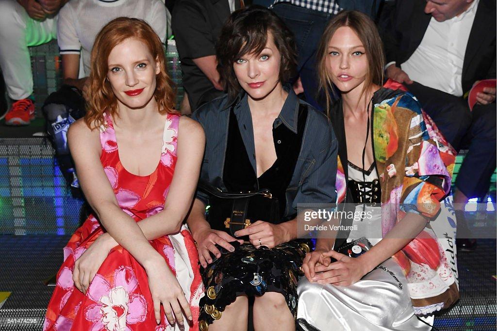 Jessica Chastain Milla Jovovich and Sasha Pivovarova attend the Prada show during Milan Men's Fashion Week SS17 on June 19 2016 in Milan Italy