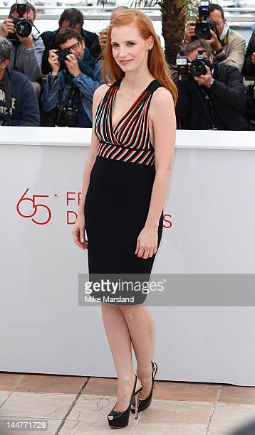 Jessica Chastain poses at the 'Lawless' photocall during the 65th Annual Cannes Film Festival at Palais des Festivals on May 19 2012 in Cannes France