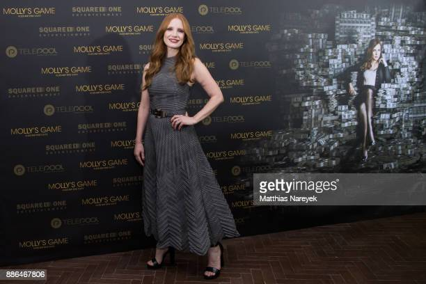 Jessica Chastain poses during the photo call of 'Molly's Game' at Soho House on December 5 2017 in Berlin Germany