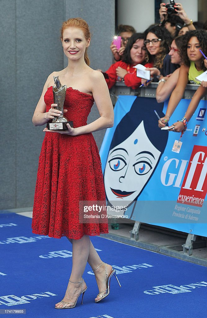 Jessica Chastain poses with the 2013 Giffoni award on July 21, 2013 in Giffoni Valle Piana, Italy.