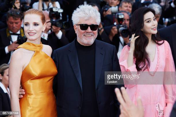 Jessica Chastain President of the jury Pedro Almodovar Fan Bingbing attend the 70th Anniversary of the 70th annual Cannes Film Festival at Palais des...