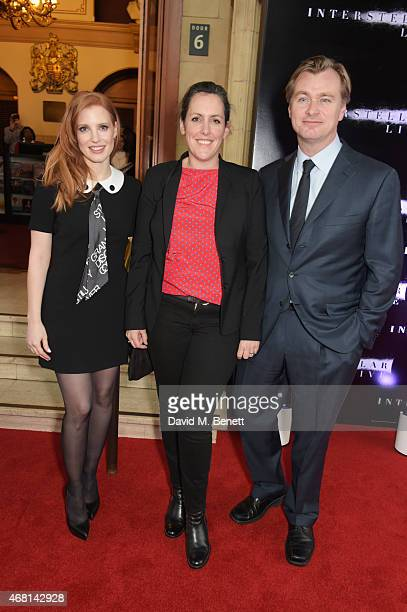 Jessica Chastain producer Emma Thomas and director Christopher Nolan attend at a special screening of 'Interstellar Live' at Royal Albert Hall on...