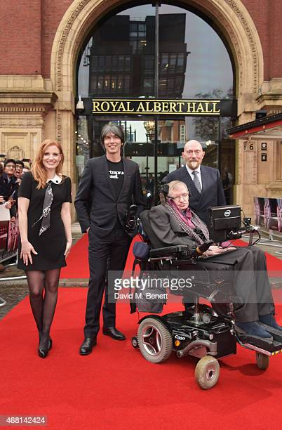 Jessica Chastain Prof Brian Cox Prof Stephen Hawking and Dr Kip Thorne attend at a special screening of 'Interstellar Live' at Royal Albert Hall on...