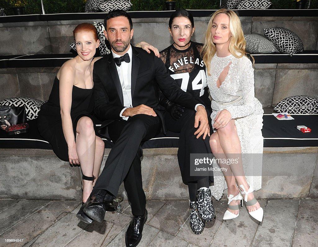 Jessica Chastain, Riccardo Tisci, Marina Abramovic, and Lauren Santo Domingo attend the 2013 CFDA Fashion Awards on June 3, 2013 in New York, United States.