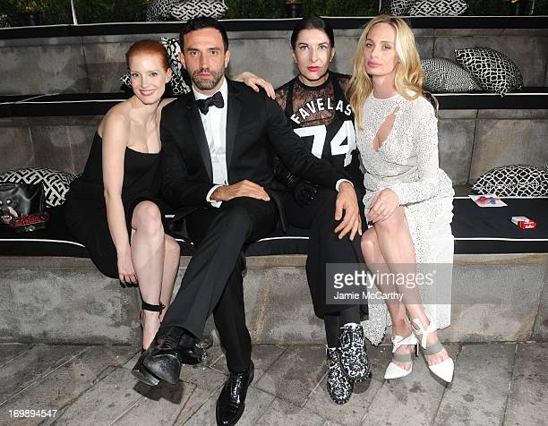 Jessica Chastain Riccardo Tisci Marina Abramovic and Lauren Santo Domingo attend the 2013 CFDA Fashion Awards on June 3 2013 in New York United States