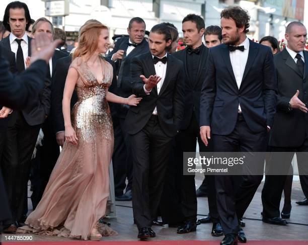 Jessica Chastain Shia LaBeouf and Jason Clarke attend the 'Lawless' Premiere during the 65th Annual Cannes Film Festival at Palais des Festivals on...