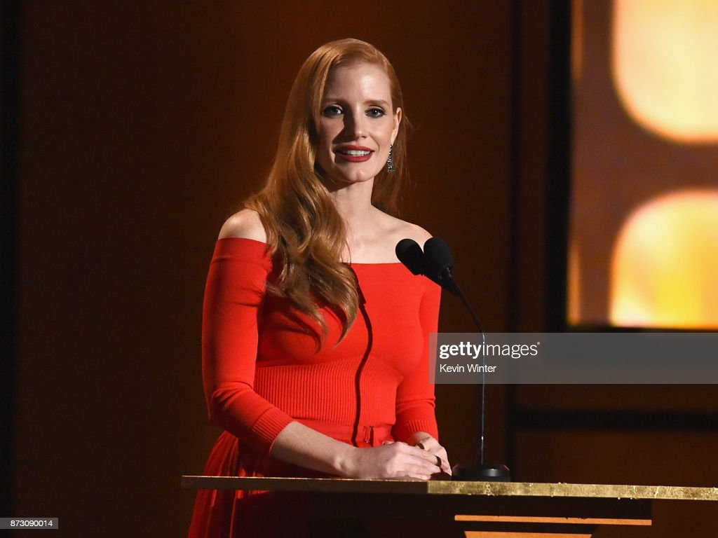 Jessica Chastain speaks onstage at the Academy of Motion Picture Arts and Sciences' 9th Annual Governors Awards at The Ray Dolby Ballroom at Hollywood & Highland Center on November 11, 2017 in Hollywood, California.