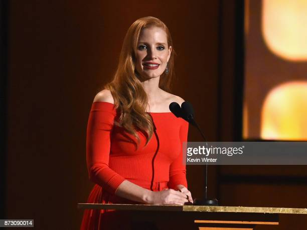 Jessica Chastain speaks onstage at the Academy of Motion Picture Arts and Sciences' 9th Annual Governors Awards at The Ray Dolby Ballroom at...