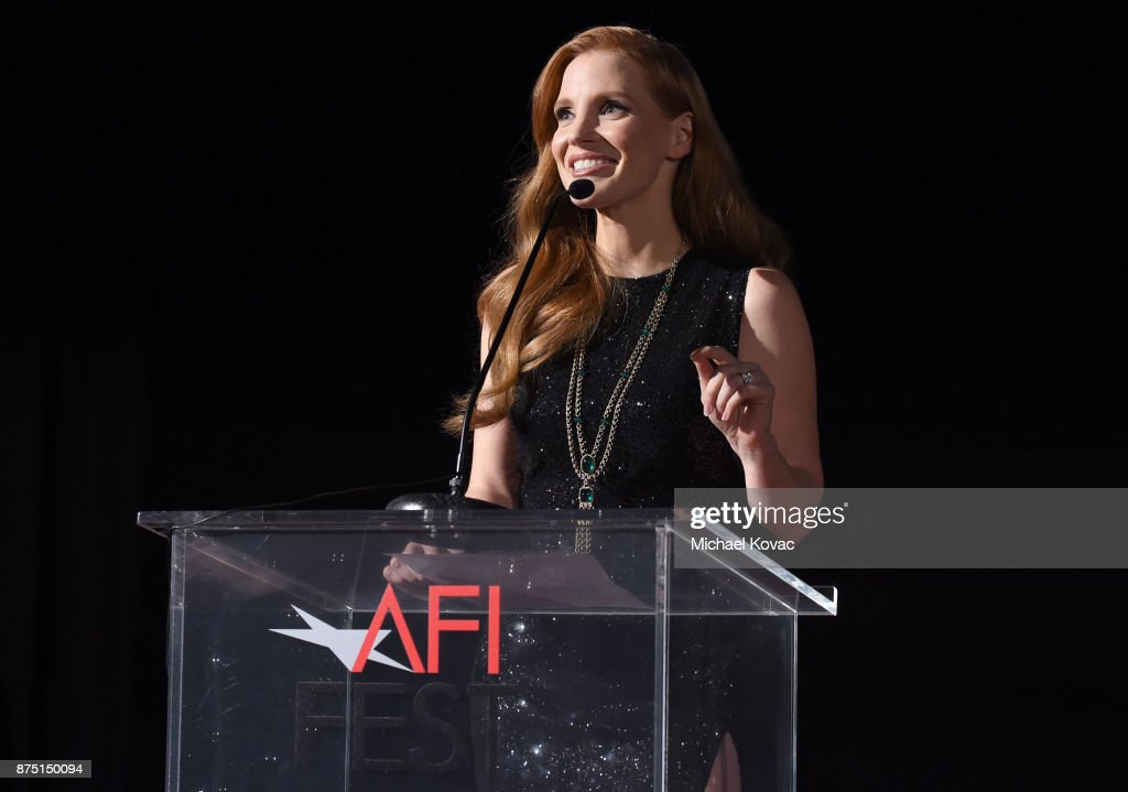 Jessica Chastain speaks onstage at the screening of 'Molly's Game' at the Closing Night Gala at AFI FEST 2017 Presented By Audi at TCL Chinese Theatre on November 16, 2017 in Hollywood, California.
