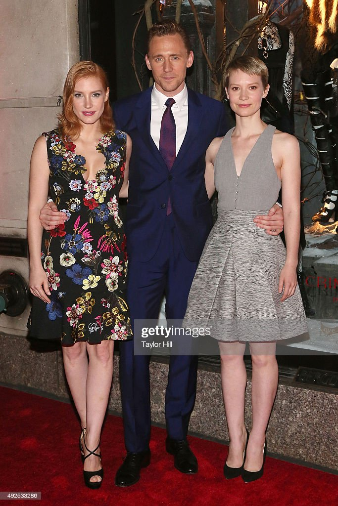 Jessica Chastain, Tom Hiddleston, and Mia Wasikowska attend a celebration of Bergdorf Goodman Windows inspired by the Legendary Pictures and Universal Pictures film, 'Crimson Peak' at Bergdorf Goodman on October 13, 2015 in New York City.