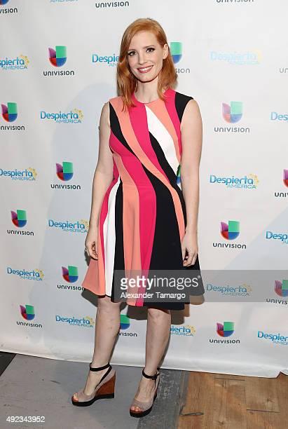 Jessica Chastain visits the set of 'Despierta America' to promote the film 'Crimson Peak' at Univision Studios on October 12 2015 in Miami Florida
