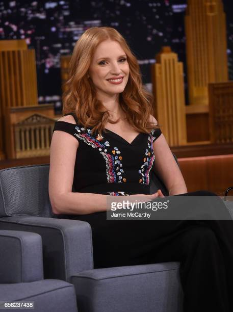 Jessica Chastain visits 'The Tonight Show Starring Jimmy Fallon' at Rockefeller Center on March 21 2017 in New York City