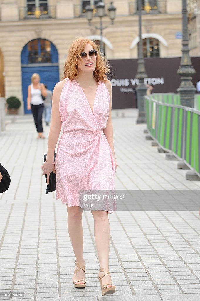 Jessica Chastain walks on Place Vendome on September 1, 2011 in Paris, France.