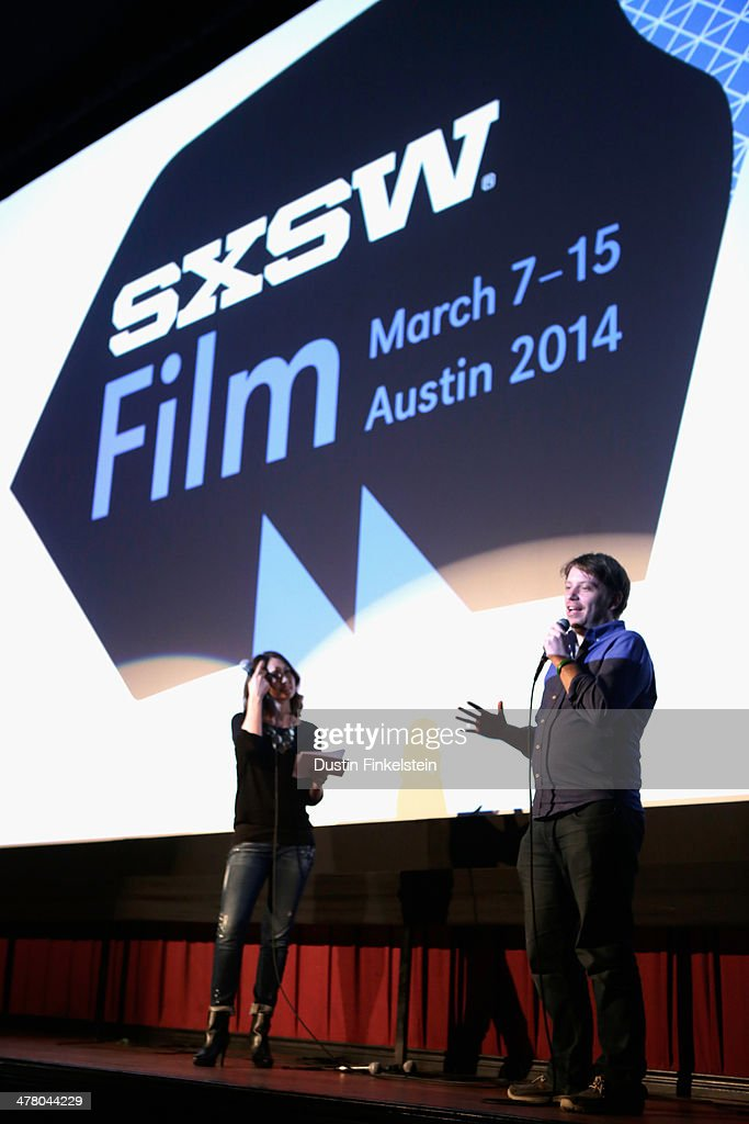 Jessica Chobot and director Gareth Edwards speak onstage at 'GODZILLA: THE JAPANESE ORIGINAL' during the 2014 SXSW Music, Film + Interactive Festival at Alamo Ritz on March 11, 2014 in Austin, Texas.