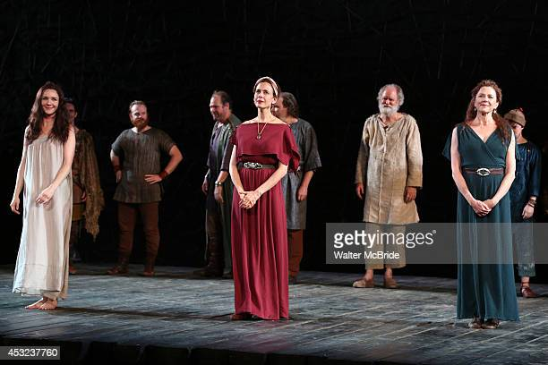 Jessica Collins Jessica Hecht and Annette Bening with cast during the The Public Theatre's Opening Night Performance Curtain Call for 'King Lear' at...