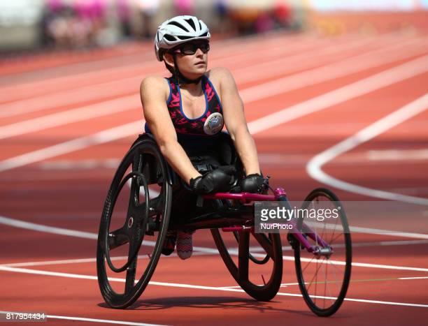 Jessica Cooper Lewis of Bermuda Women's 400M T53 Round 1 Heat 2 during IPC World Para Athletics Championships at London Stadium in London on July 18...