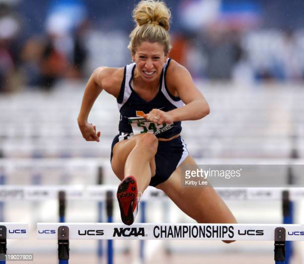 Jessica Cziakowski of West Virginia placed fifth in firstround heat of women's 100meter hurdles in 1369 in the NCAA Track Field Championships at...