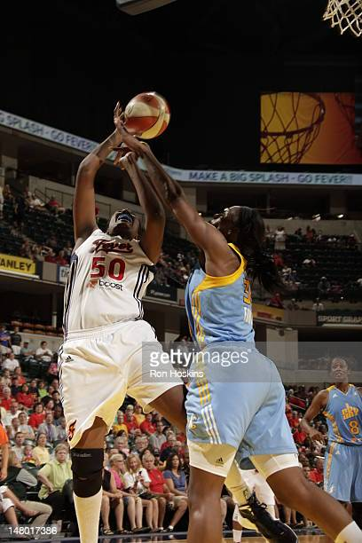Jessica Davenport of the Indiana Fever battles Sylvia Fowles of the Chicago Sky at Banker Life Fieldhouse on July 7 2012 in Indianapolis Indiana NOTE...