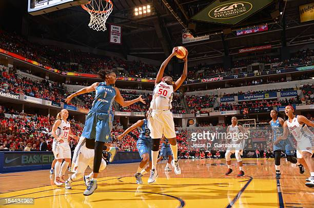 Jessica Davenport of the Indiana Fever rebounds against the Minnesota Lynx during Game three of the 2012 WNBA Finals on October 19 2012 at Bankers...