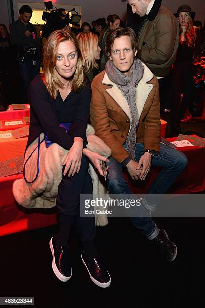Jessica Diehl and Magnus Berger attend the Diane Von Furstenberg fashion show during MercedesBenz Fashion Week Fall 2015 at Spring Studios on...