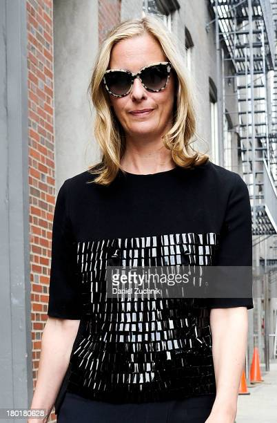 Jessica Diehl is seen outside the Donna Karan New York show wearing a Balenciaga top on September 9 2013 in New York City
