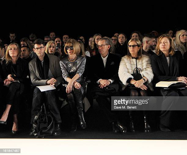 Jessica Diehl Mark Holgate Anna Wintour Jonathan Newhouse Ronnie Newhouse and Sarah Mower attend the Mulberry Autumn Winter 2013 show during London...