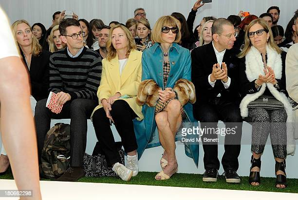 Jessica Diehl Mark Holgate Sarah Mower Anna Wintour Jonathan Newhouse and Ronnie Newhouse attend the Mulberry Spring/Summer 2014 show during London...