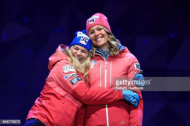 Jessica Diggins and Sadie Bjornsen of the USA celebrate coming third in the Women's Cross Country Team Sprint Final during the FIS Nordic World Ski...