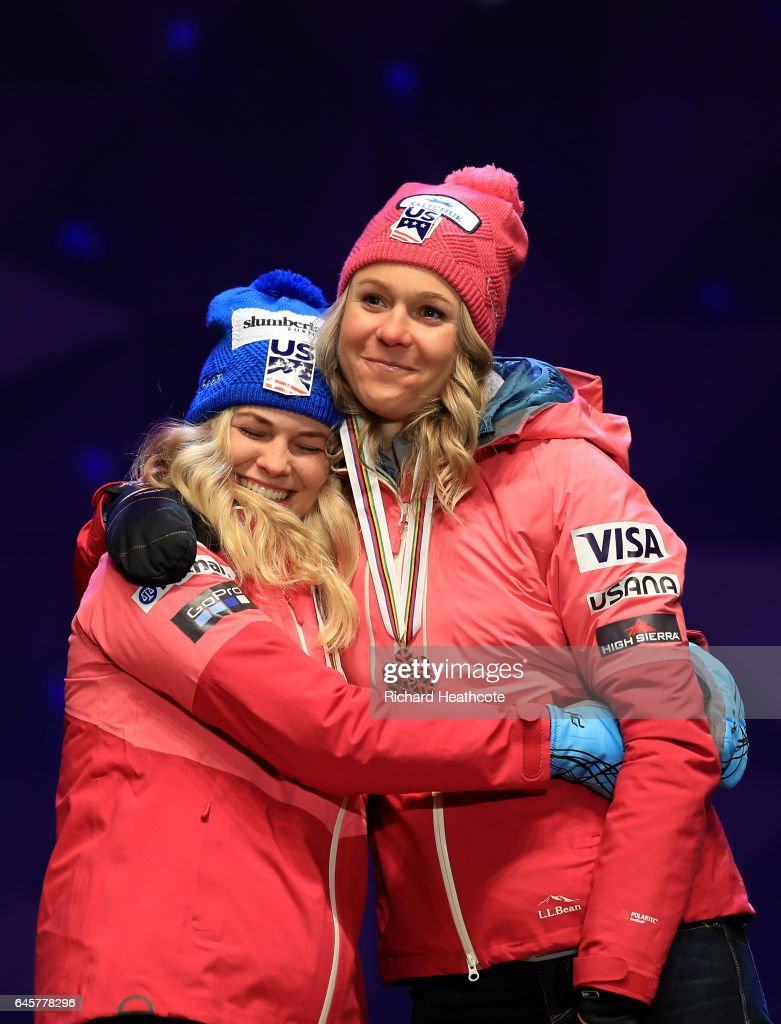 Jessica Diggins and Sadie Bjornsen of the USA celebrate coming third in the Women's Cross Country Team Sprint Final during the FIS Nordic World Ski Championship on February 26, 2017 in Lahti, Finland.