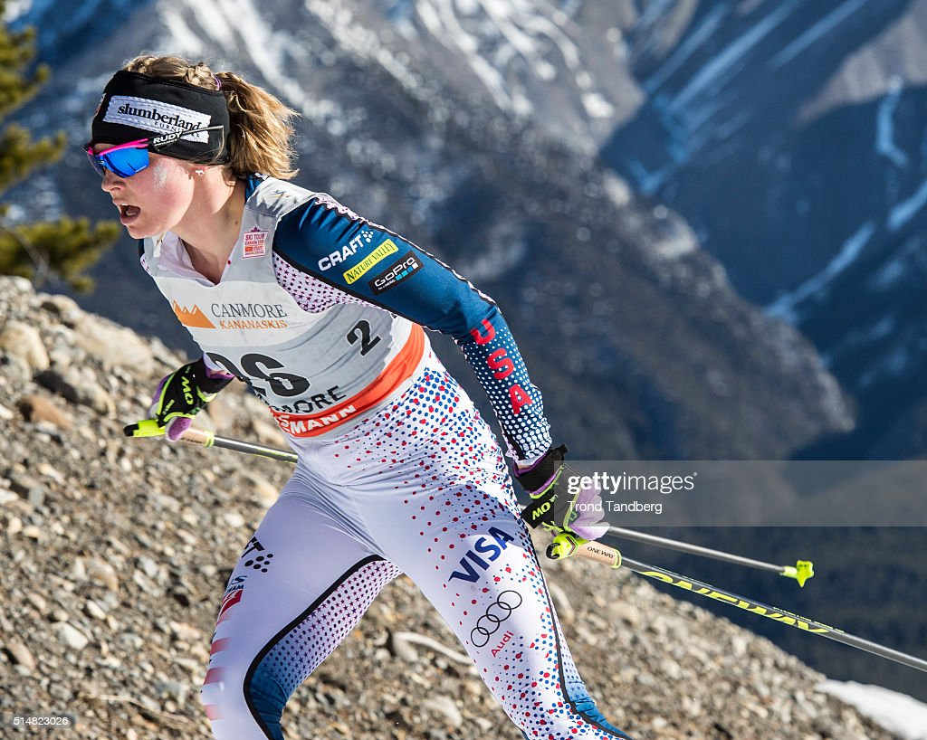Jessica Diggins during Cross Country Ladies 100 km Individual Free on March 11 2016 in Canmore Canada