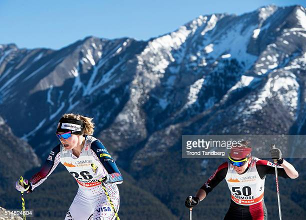 Jessica Diggins Justyna Kowalczyk during Cross Country Ladies 100 km Individual Free on March 11 2016 in Canmore Canada