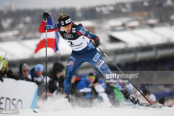 Jessica Diggins of the United States competes in the Women's 14KM Cross Country Sprint qualification round during the FIS Nordic World Ski...