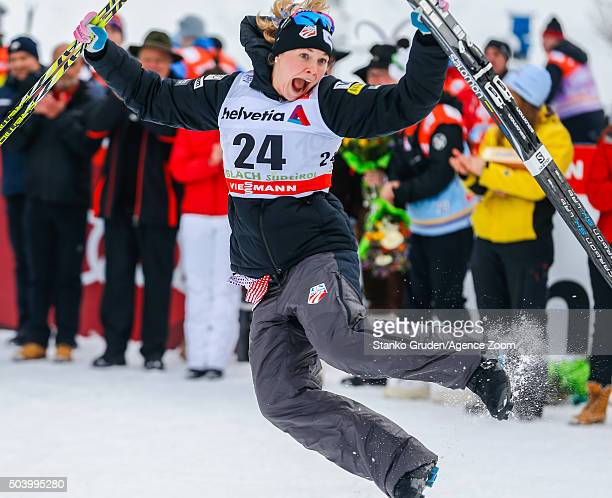 Jessica Diggins of the USA takes 1st place during the FIS Nordic World Cup Men's and Women's Cross Country Tour de Ski on January 8 2016 in Toblach...