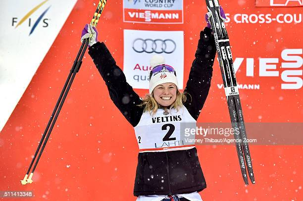 Jessica Diggins of the USA takes 2nd place during the FIS Nordic World Cup Men's and Women's Cross Country Sprint on February 20 2016 in Lahti Finland
