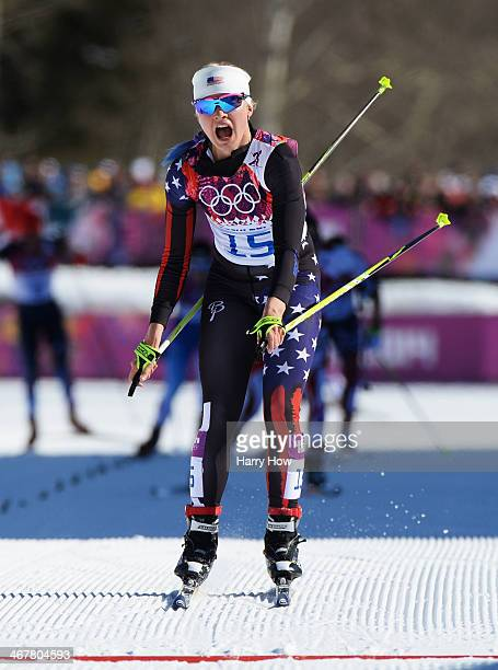 Jessica Diggins of United States approaches the finish line of the Ladies' Skiathlon 75 km Classic 75 km Free during day one of the Sochi 2014 Winter...